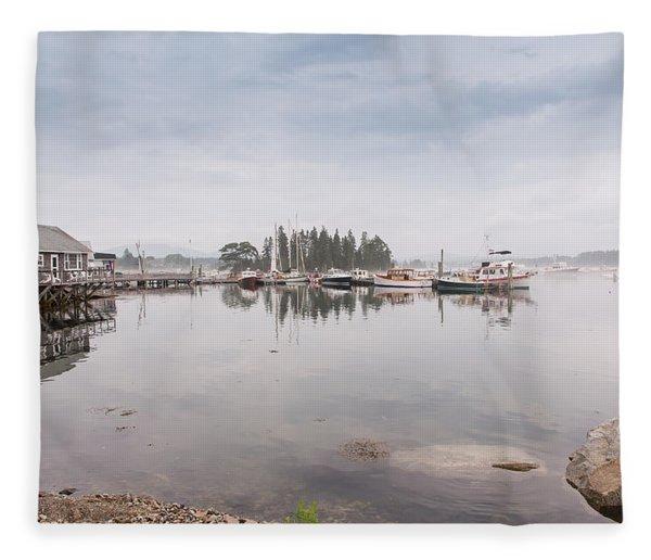 Bass Harbor In The Morning Fog Fleece Blanket