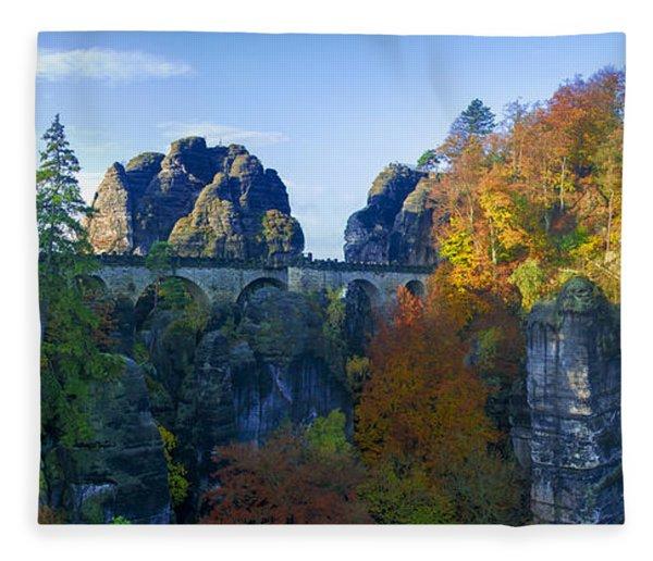 Bastei Bridge In The Elbe Sandstone Mountains Fleece Blanket