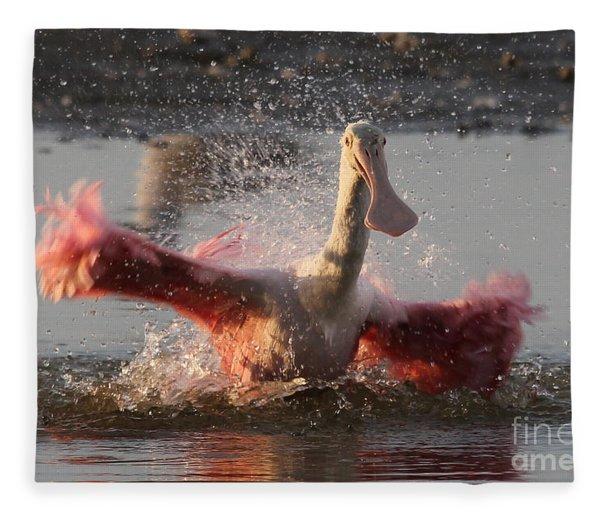 Bath Time - Roseate Spoonbill Fleece Blanket