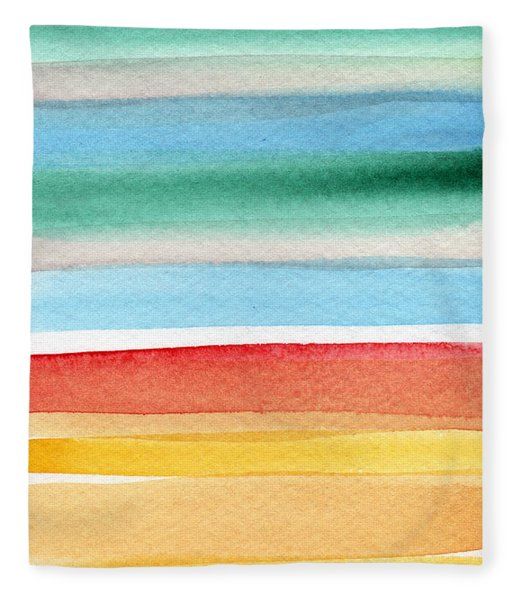 Beach Blanket- Colorful Abstract Painting Fleece Blanket