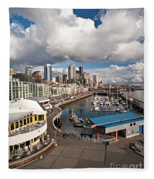 Beautiful Seattle Sky Fleece Blanket