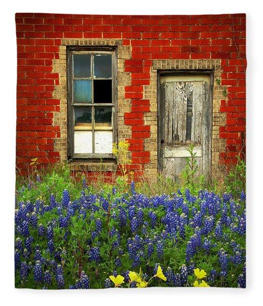 Beauty And The Door - Texas Bluebonnets Wildflowers Landscape Door Flowers Fleece Blanket