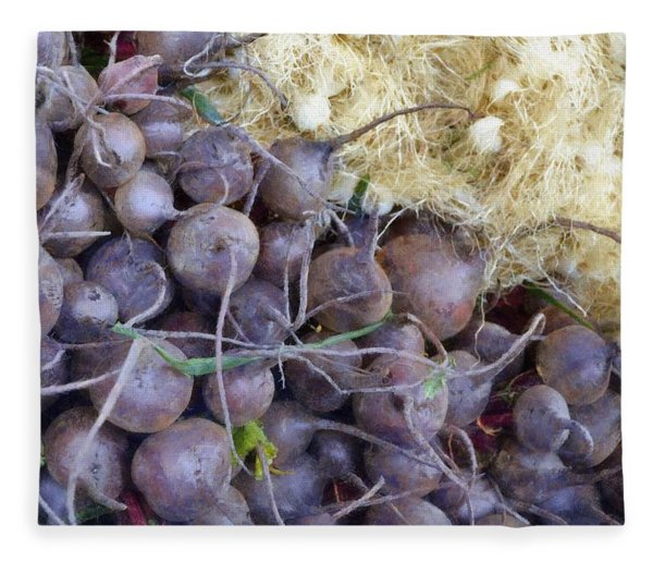 Beets And Mini Onions At The Market Fleece Blanket