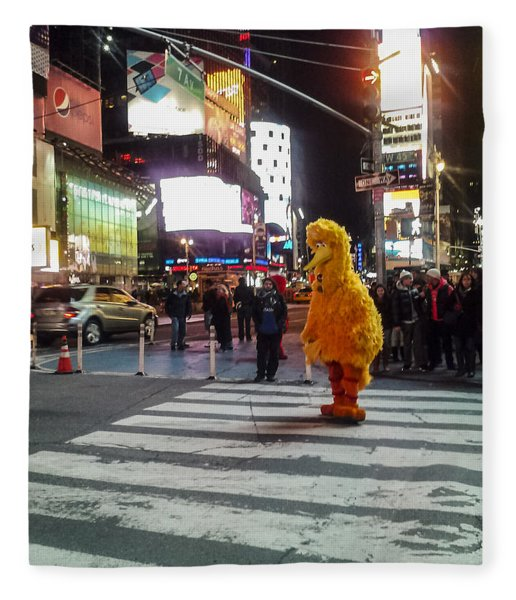Big Bird On Times Square Fleece Blanket