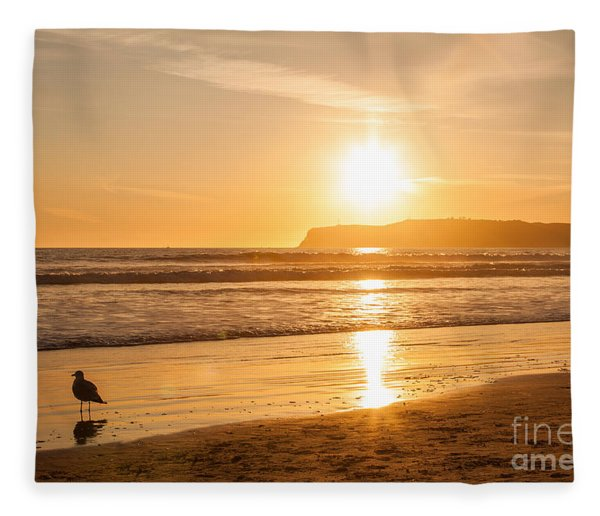 Bird And His Sunset Fleece Blanket
