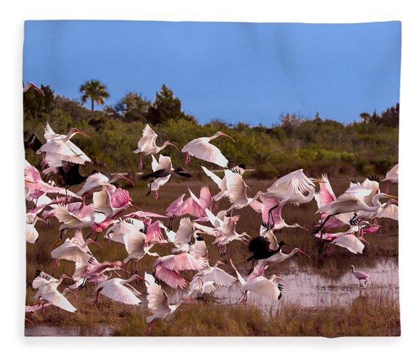 Birds Call To Flight Fleece Blanket