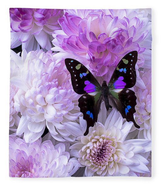Black And Purple Butterfly On Mums Fleece Blanket