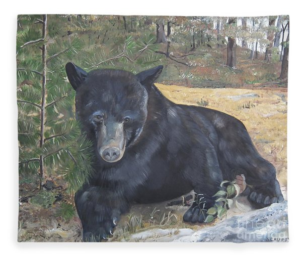 Black Bear - Wildlife Art -scruffy Fleece Blanket