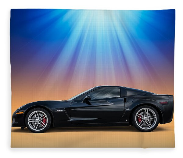 Black C6 Fleece Blanket