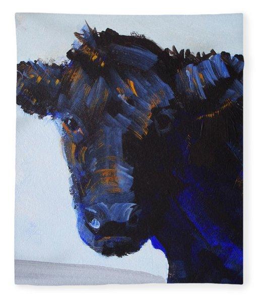 Black Cow Head Fleece Blanket