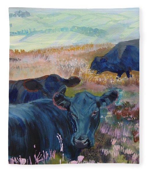 Black Cows On Dartmoor Fleece Blanket