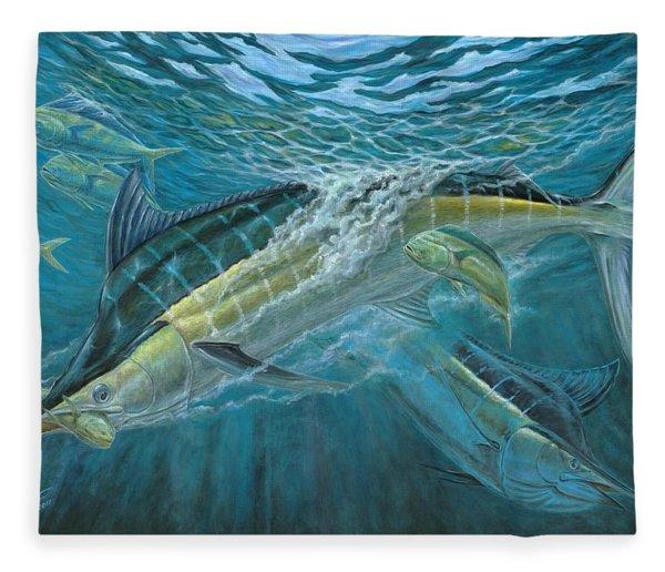 Blue And Mahi Mahi Underwater Fleece Blanket