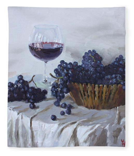 Blue Grapes And Wine Fleece Blanket