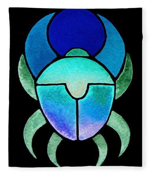 Blue Green Scarab Fleece Blanket