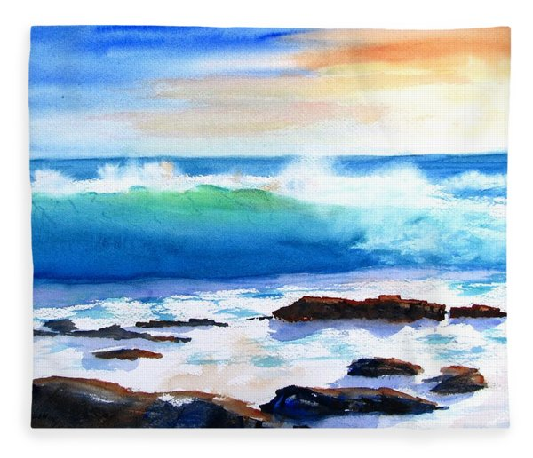 Blue Water Wave Crashing On Rocks Fleece Blanket