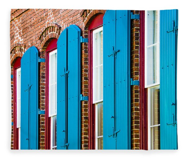 Fleece Blanket featuring the photograph Blue Windows by Carolyn Marshall