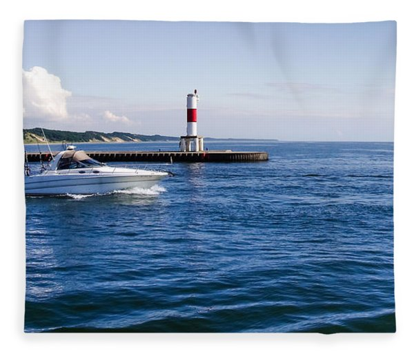Boat At Holland Pier Fleece Blanket