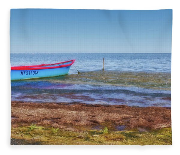 Boat At The Pond Fleece Blanket