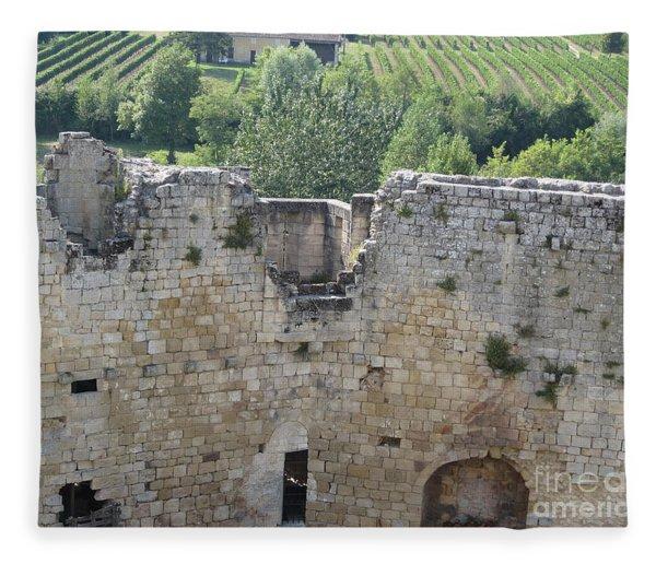 Bordeaux Castle Ruins With Vineyard Fleece Blanket