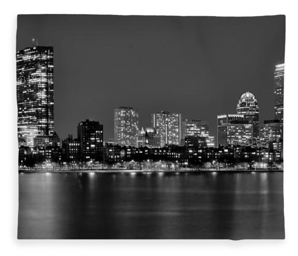 Boston Back Bay Skyline At Night Black And White Bw Panorama Fleece Blanket