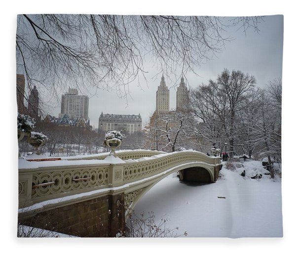 Bow Bridge Central Park In Winter  Fleece Blanket