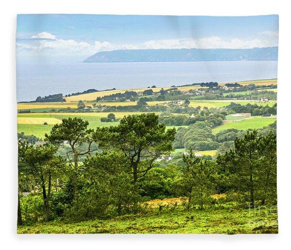 Brittany Landscape With Ocean View Fleece Blanket