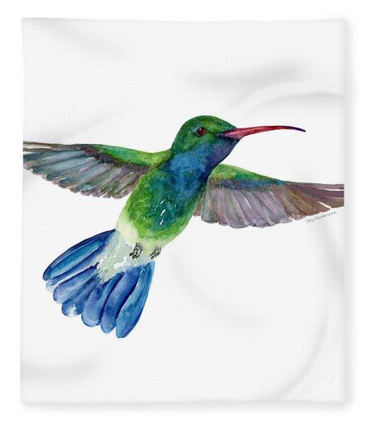 Broadbilled Fan Tail Hummingbird Fleece Blanket
