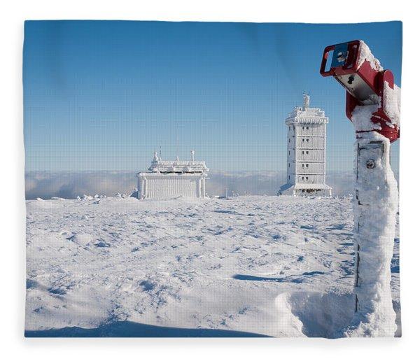 Brocken In Winter, Harz Fleece Blanket