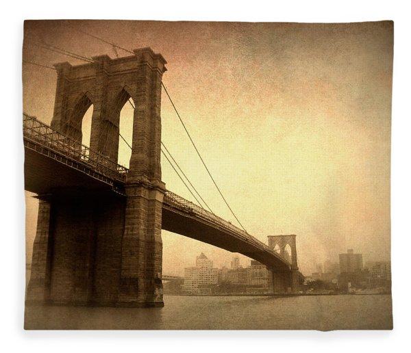 Brooklyn Bridge Nostalgia II Fleece Blanket