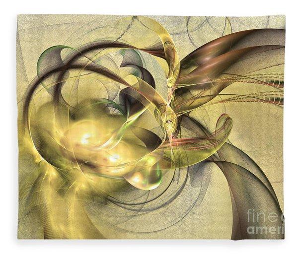 Fleece Blanket featuring the digital art Budding Fruit - Abstract Art by Sipo Liimatainen