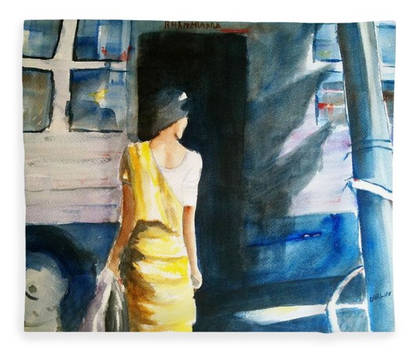 Bus Stop - Woman Boarding The Bus Fleece Blanket