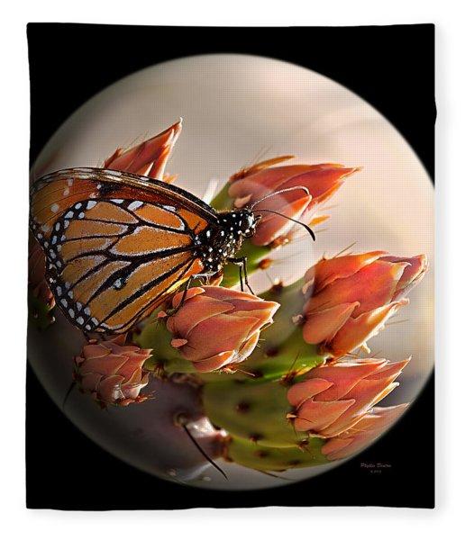 Butterfly In A Globe Fleece Blanket
