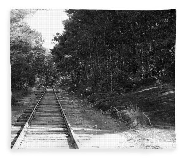 Bw Railroad Track To Somewhere Fleece Blanket