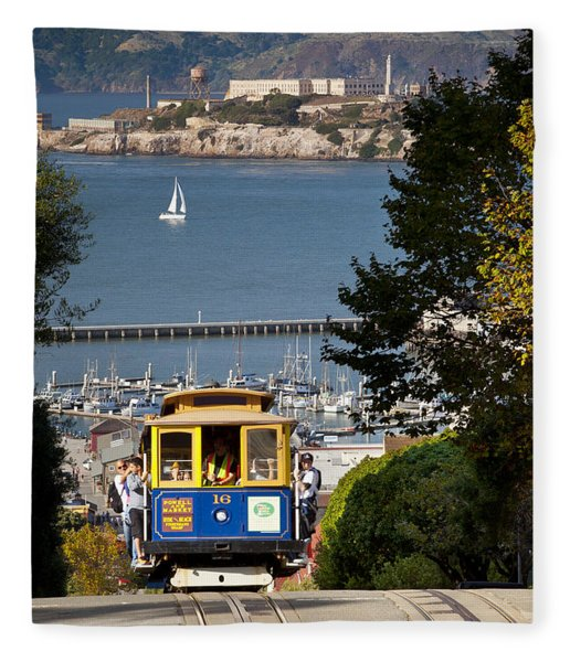 Fleece Blanket featuring the photograph San Francisco Cable Car On Hyde Street Print By Brian Jannsen Photography by Brian Jannsen