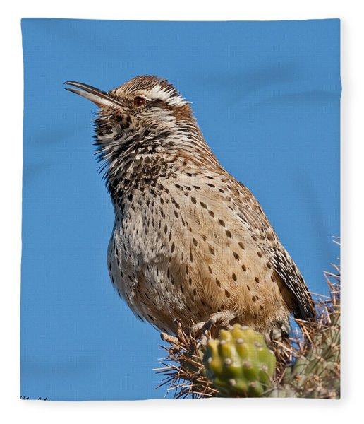 Cactus Wren Singing Fleece Blanket
