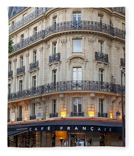 Fleece Blanket featuring the photograph Cafe Francais by Brian Jannsen