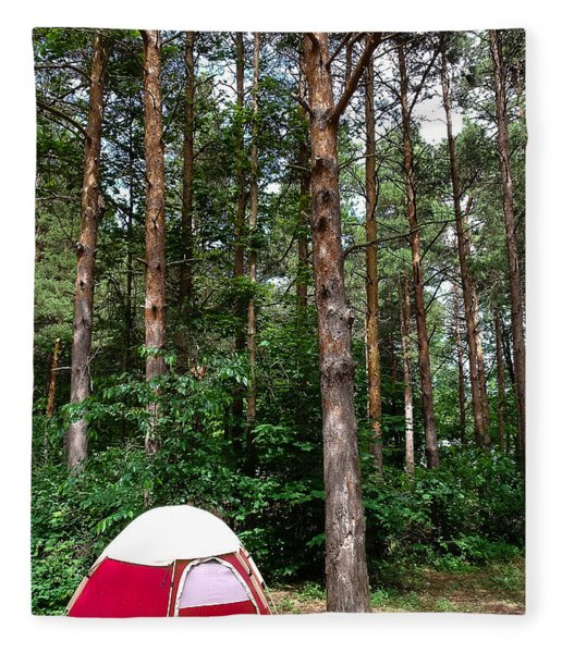 Campsite Near Holland State Park Fleece Blanket
