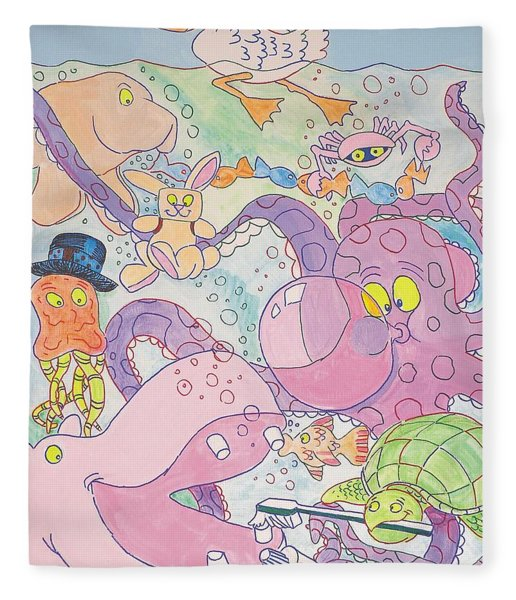 Cartoon Sea Creatures Fleece Blanket