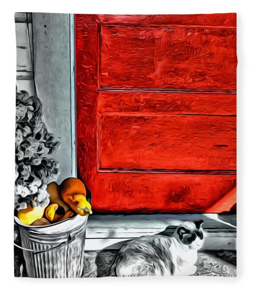 Cat By The Red Door Fleece Blanket