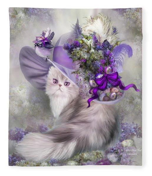 Cat In Easter Lilac Hat Fleece Blanket