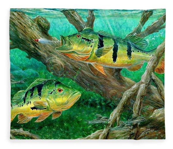 Catching Peacock Bass - Pavon Fleece Blanket