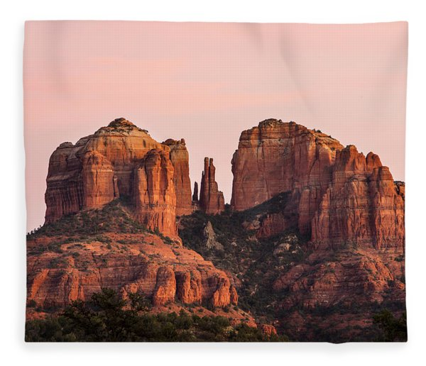 Cathedral Rock Sunset Fleece Blanket