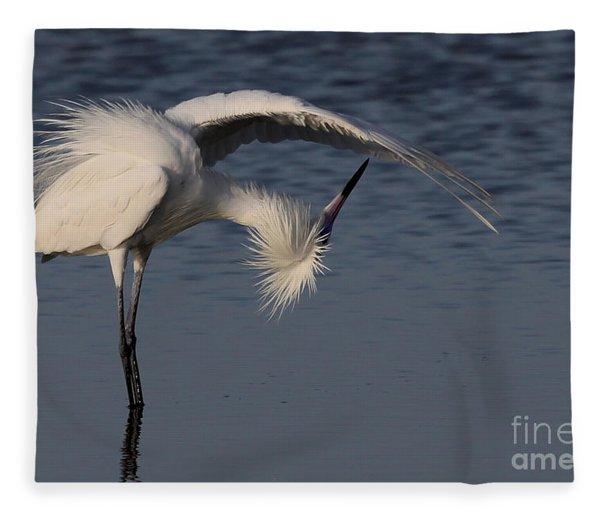 Checking For Leaks - Reddish Egret - White Form Fleece Blanket