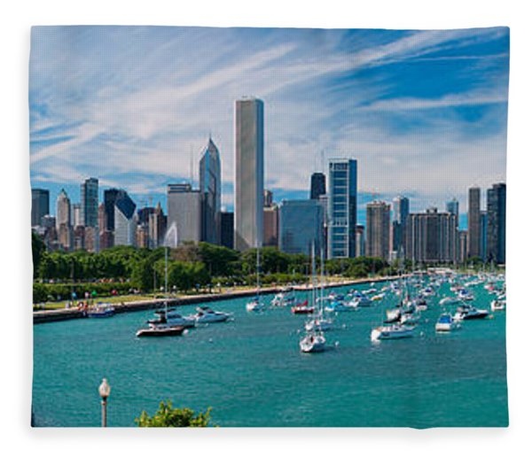 Chicago Skyline Daytime Panoramic Fleece Blanket