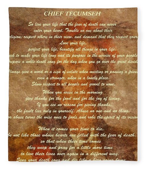 Chief Tecumseh Poem Fleece Blanket