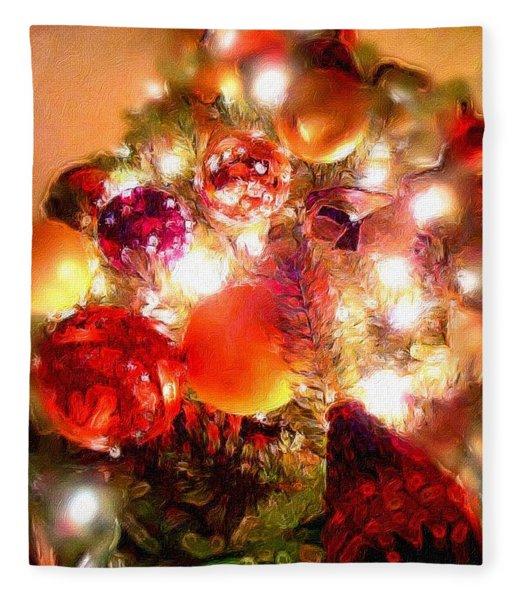 Fleece Blanket featuring the digital art Christmas Abstract by Matt Lindley