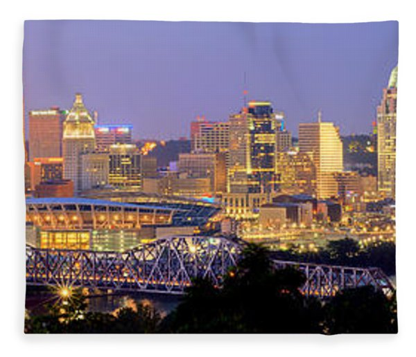Cincinnati Skyline At Dusk Sunset Color Panorama Ohio Fleece Blanket