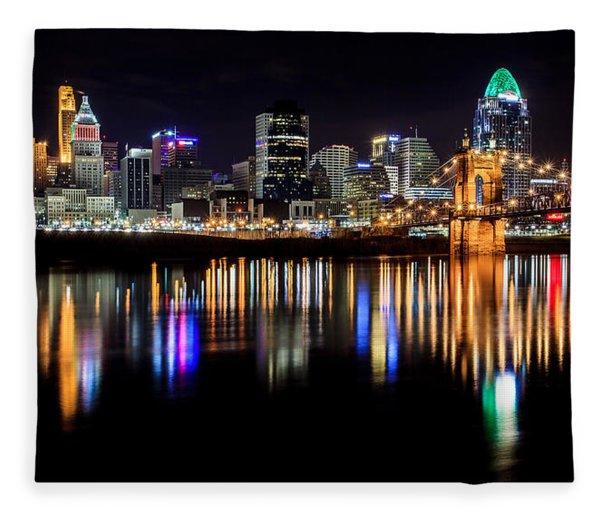 Cincinnati Skyline In Christmas Colors Fleece Blanket