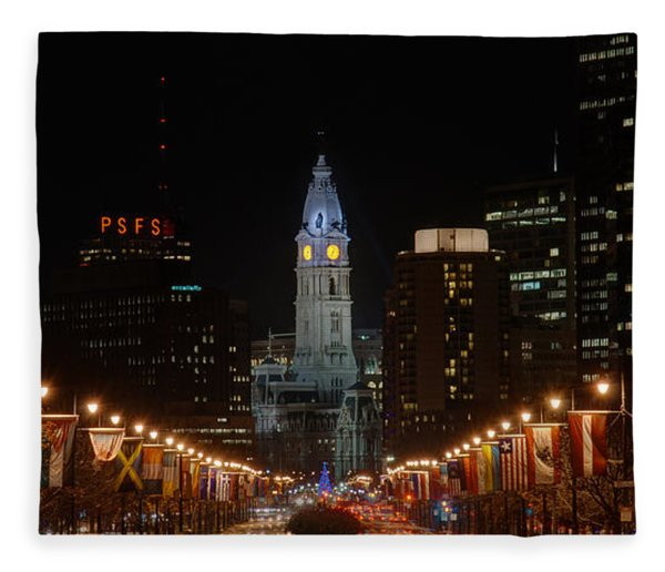 City Hall At Night Fleece Blanket