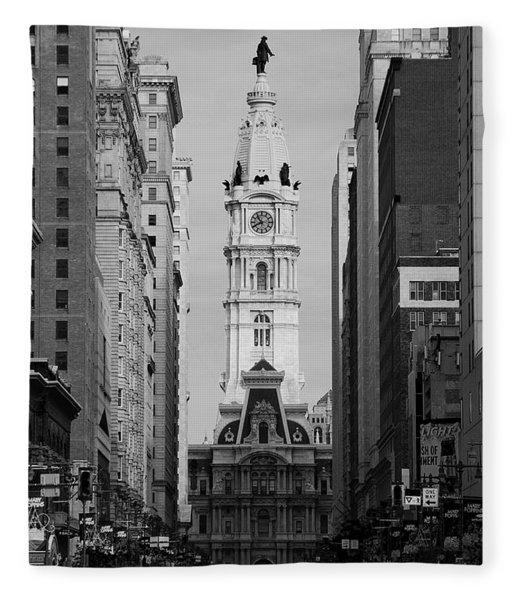 City Hall B/w Fleece Blanket